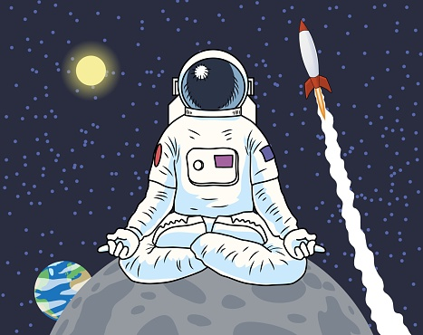 Astronaut sitting meditating on a planet or moon