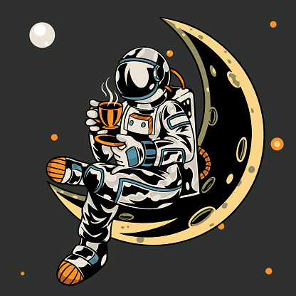 Astronaut sitting on the moon while holding a cup of coffee t-shirt and apparel trendy design with simple typography, good for t-shirt graphics, poster, print and other uses. Vector illustration