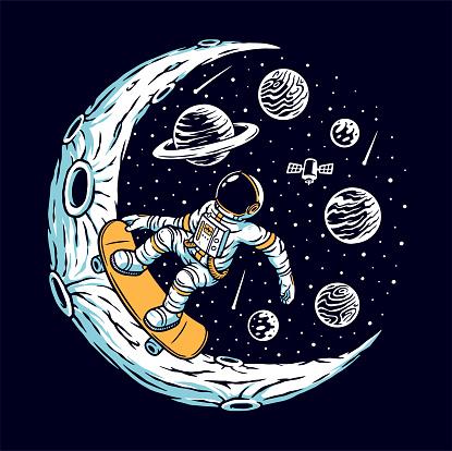 Astronaut skateboarding on the moon vector illustration