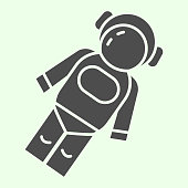 istock Astronaut solid icon. Cosmonaut in suit in space glyph style pictogram on white background. Universe and Astronomy signs for mobile concept and web design. Vector graphics. 1222147056