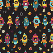 Space animals on black seamless vector background. Planets, stars. Astronaut mouse, cat, giraffe, dog, lion in rocket ships. Space themed kids pattern. For children, paper, fabric