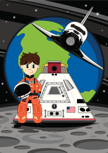 Astronaut Space Shuttle and Capsule Scene