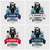 Vector artwork of space exploration mission on moon, planet, stars, outer space, and the universe.