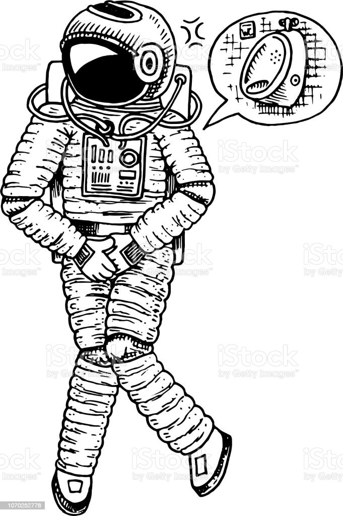 Astronaut spaceman with wc restroom symbol. astronomical galaxy...