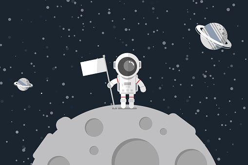 Astronaut stand on the moon with a flag