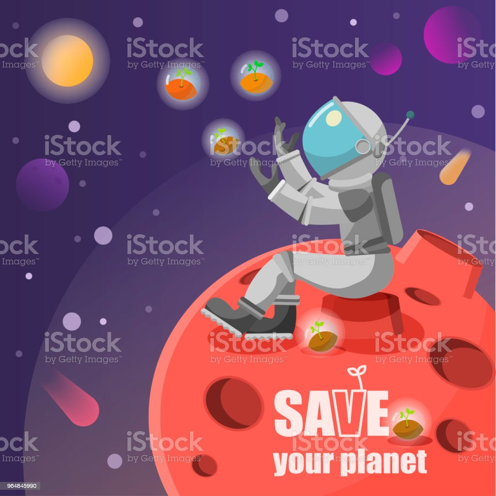 astronaut standing on a planet waving hello to a satellite in space vector illustration royalty-free astronaut standing on a planet waving hello to a satellite in space vector illustration stock vector art & more images of astronaut