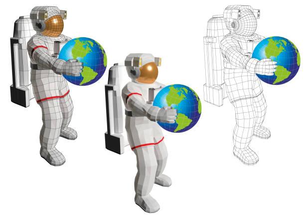 ilustrações de stock, clip art, desenhos animados e ícones de astronaut standing with planet earth in the hands - wireframe solar power