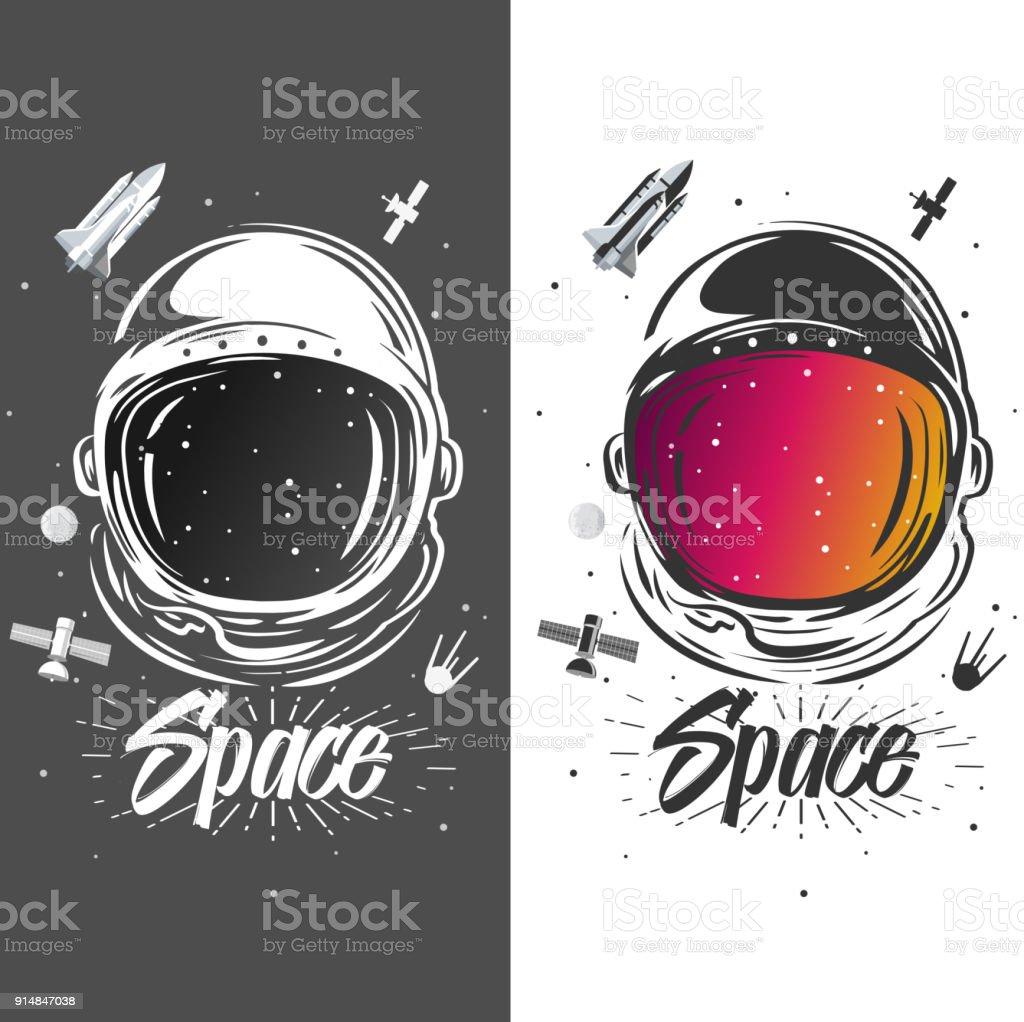 Arte del traje de astronauta. Ilustración del espacio. Símbolo del recorrido de espacio, investigación científica. Diseño de la camiseta del astronauta. Astronauta explorar nuevos planetas - ilustración de arte vectorial