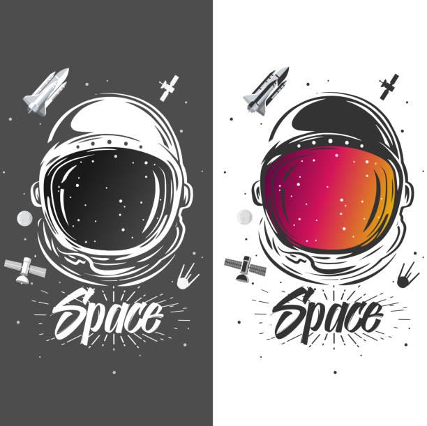 ilustraciones, imágenes clip art, dibujos animados e iconos de stock de arte del traje de astronauta. ilustración del espacio. símbolo del recorrido de espacio, investigación científica. diseño de la camiseta del astronauta. astronauta explorar nuevos planetas - tatuajes de luna