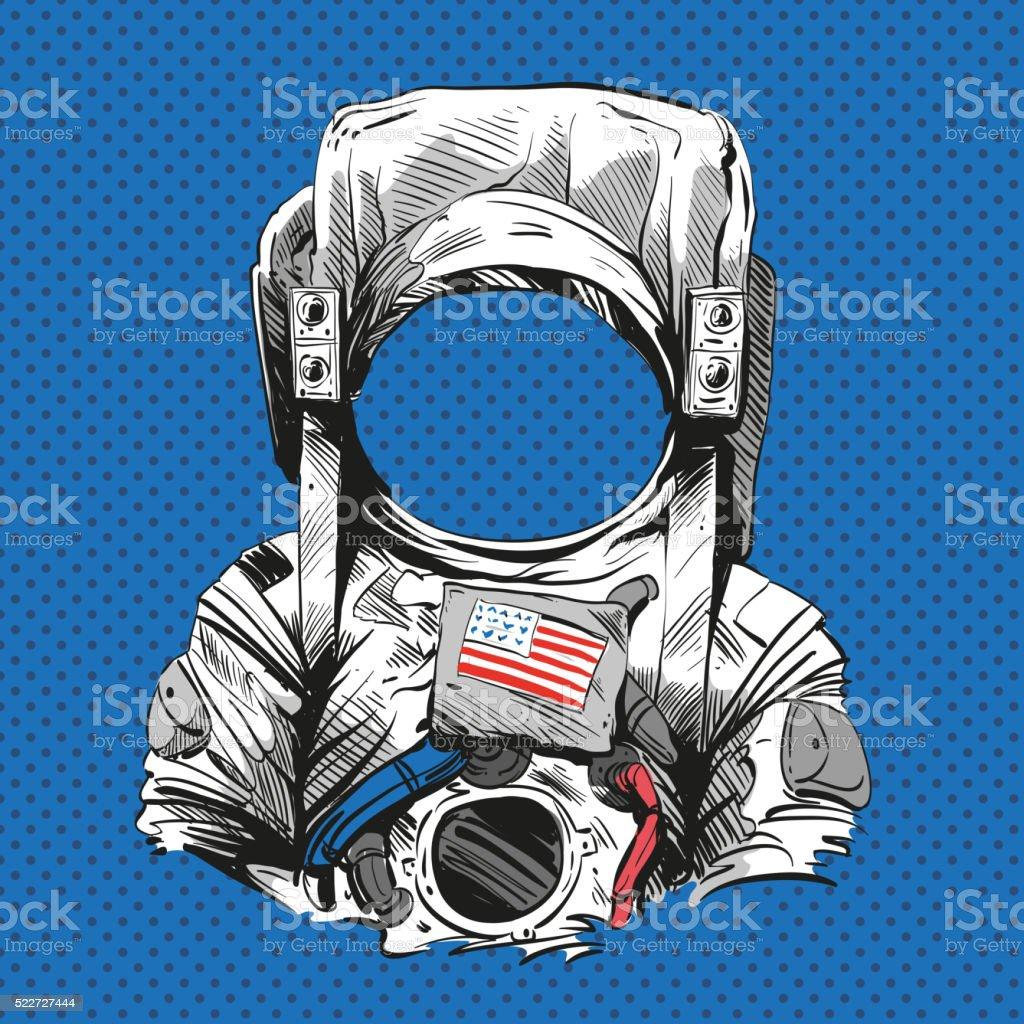 Astronauta formale. Illustrazione vettoriale disegnato a mano libera - illustrazione arte vettoriale