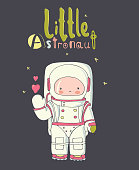 hand drawn vector illustration of cute littl austronaut /can be used for kid's or baby's shirt design/fashion print design/fashion graphic/kids wear/tee