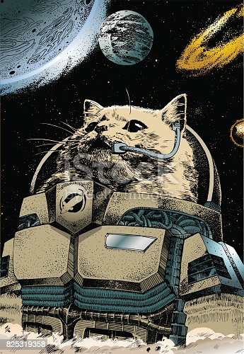 Vector file of a astrocat commander returning home