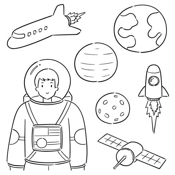 astronaut – artystyczna grafika wektorowa