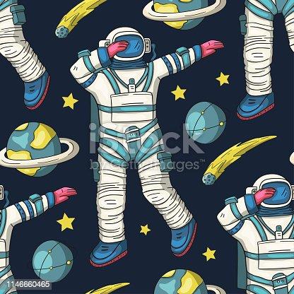 Astronaut vector seamless pattern.
