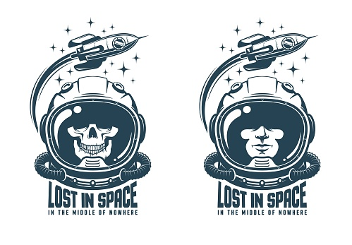 Astronaut vintage logo. Space helmet with flying rocket emblem