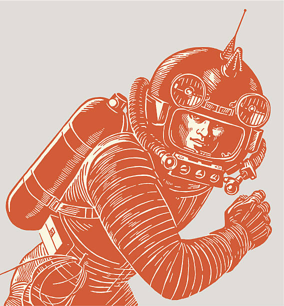 astronaut wearing a spacesuit - vintage people stock illustrations, clip art, cartoons, & icons