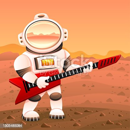 istock Astronaut with a red guitar. 1305485084