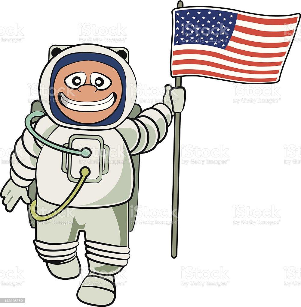 Astronaut with a US Flag Cartoon vector art illustration