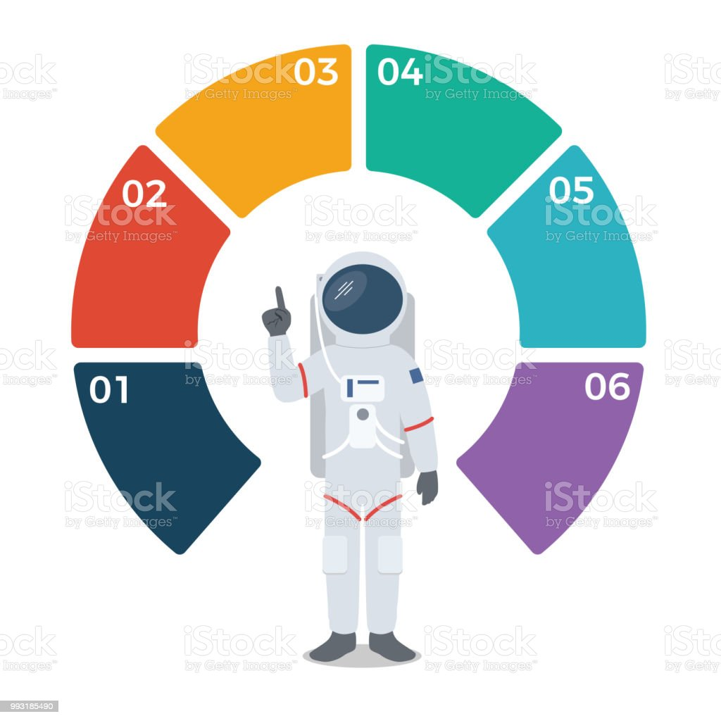 astronaut with blank circle infographic template stock vector art