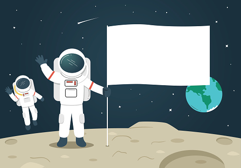 Astronaut with Blank Flag / Banner on the Moon