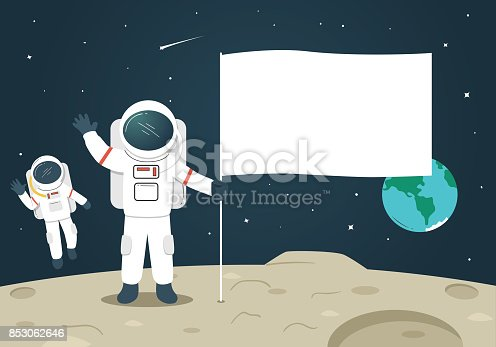 istock Astronaut with Blank Flag / Banner on the Moon 853062646
