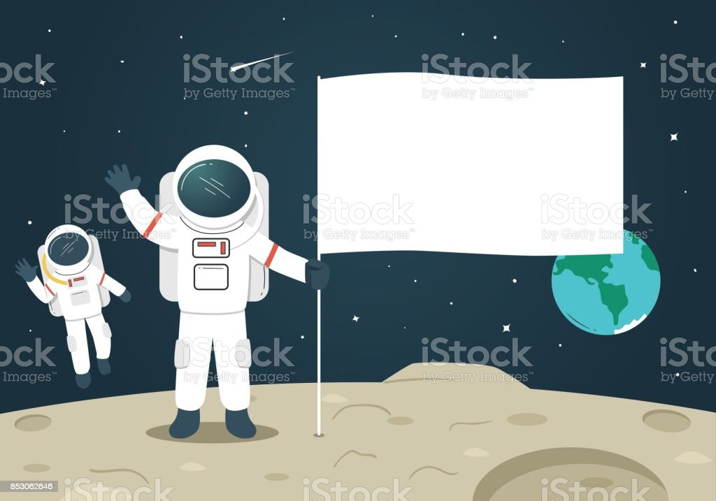 Astronaut with Blank Flag / Banner on the Moon - illustrazione arte vettoriale