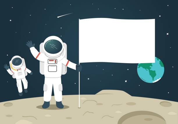 astronaut with blank flag / banner on the moon - space exploration stock illustrations, clip art, cartoons, & icons