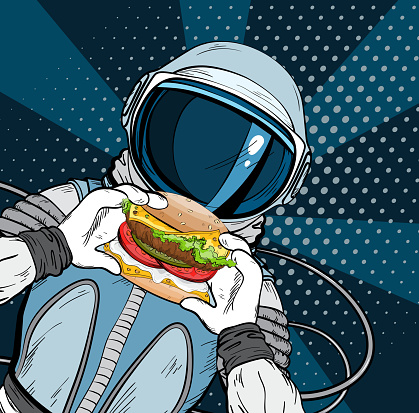 Astronaut with fast food hamburger in pop art style. Cosmonaut on blue background eating cheeseburger