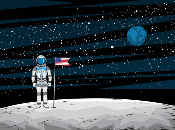 Astronaut with flag after on lunar surface with spacecraft on background Astronaut with flag after on lunar surface with spacecraft on background, vector illustration moon surface stock illustrations