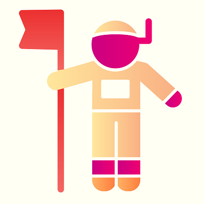 Astronaut with flag line icon. Cosmonaut, human in space. Astronomy vector design concept, outline style pictogram on white background, use for web and app. Eps 10.