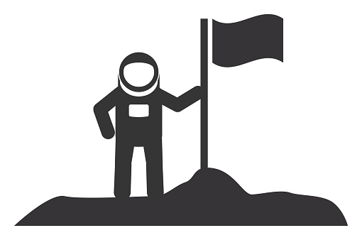 Astronaut with Flag on New Planet Icon