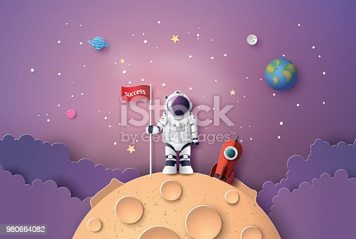 istock Astronaut with Flag on the moon 980664082
