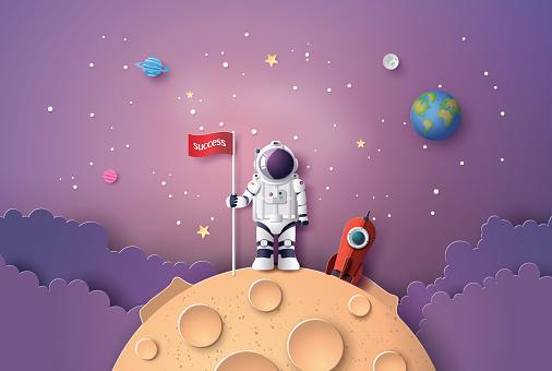 Astronaut with Flag on the moon