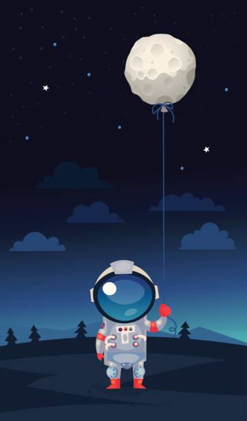 Astronaut with moon shaped balloon Astronaut in a spacesuit standing on earth holding balloon shaped like the moon in his hand astronaut floating in space stock illustrations