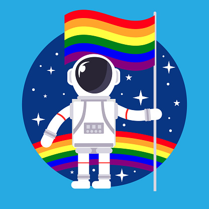 Astronaut with rainbow gay flag in hand and space in background
