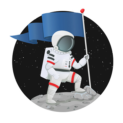 Astronaut with the flag triumphantly standing on the surface of a planet with dark space and stars in the background. Success, achievement, goal or motivation concept.