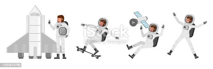 Astronaut woman vector character design