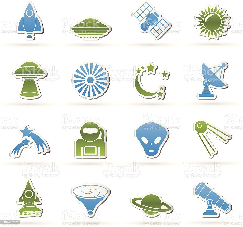 astronautics, space and universe icons royalty-free stock vector art