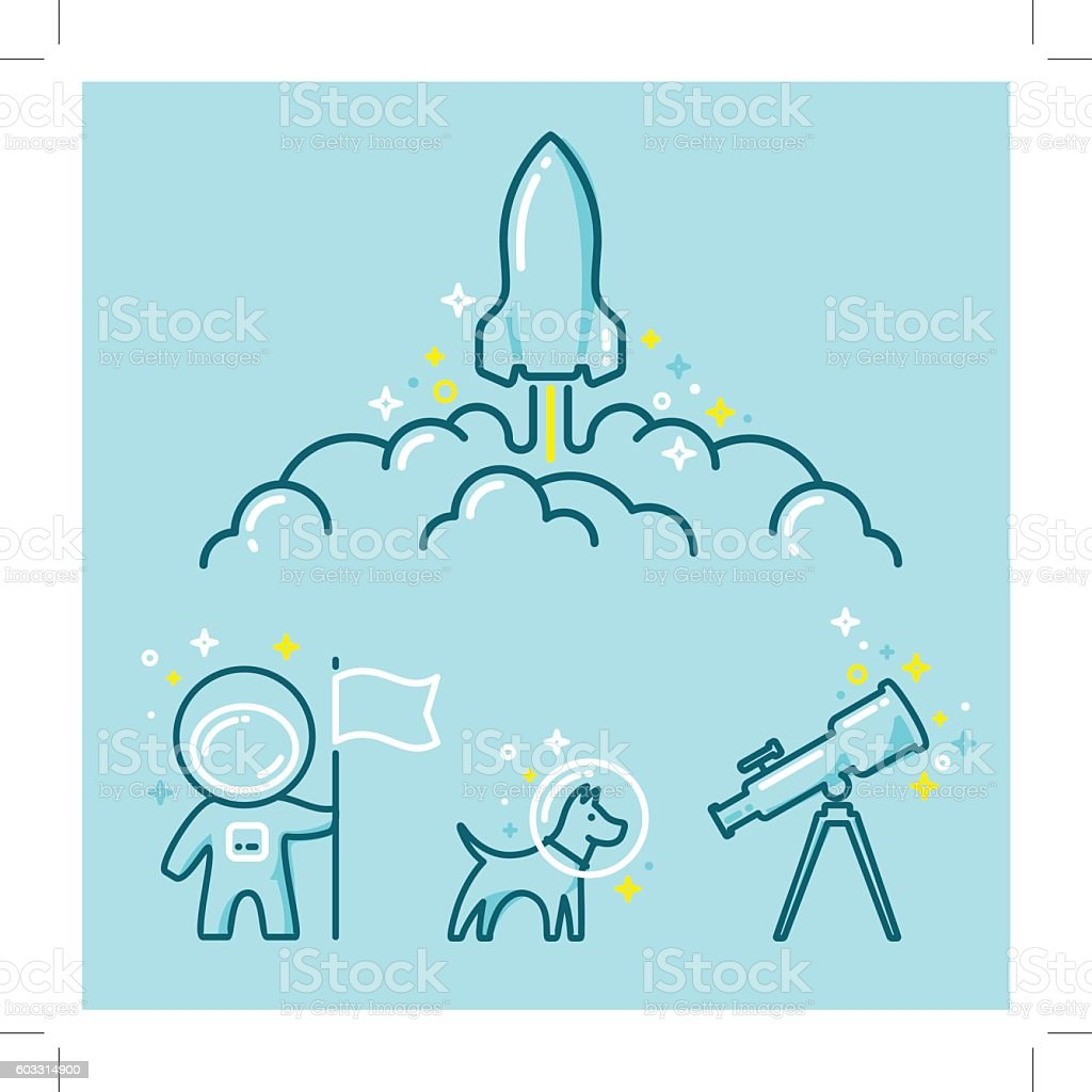 Astronautics Space Illustration Set - illustrazione arte vettoriale