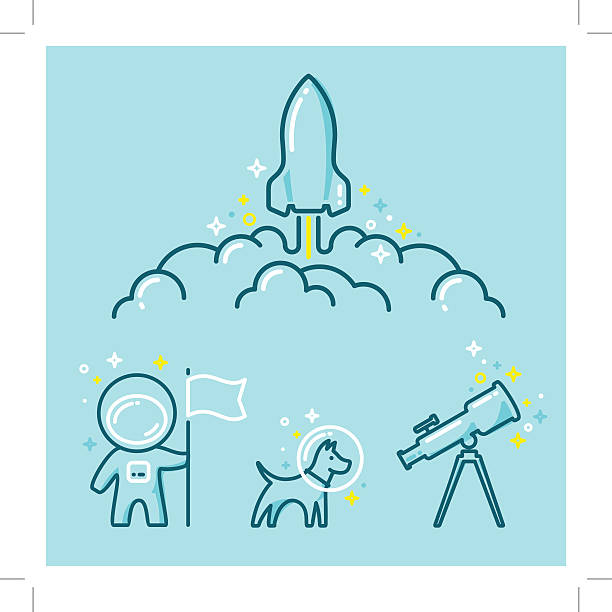 Astronautics Space Illustration Set - illustrazione arte vettoriale