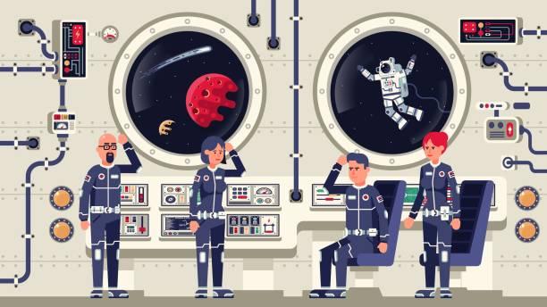 Bекторная иллюстрация Astronauts are men and women aboard a spacecraft