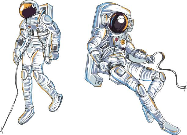 Astronauts characters set Hand drawn style. human spaceman.Astronauts suit vector. vector art illustration