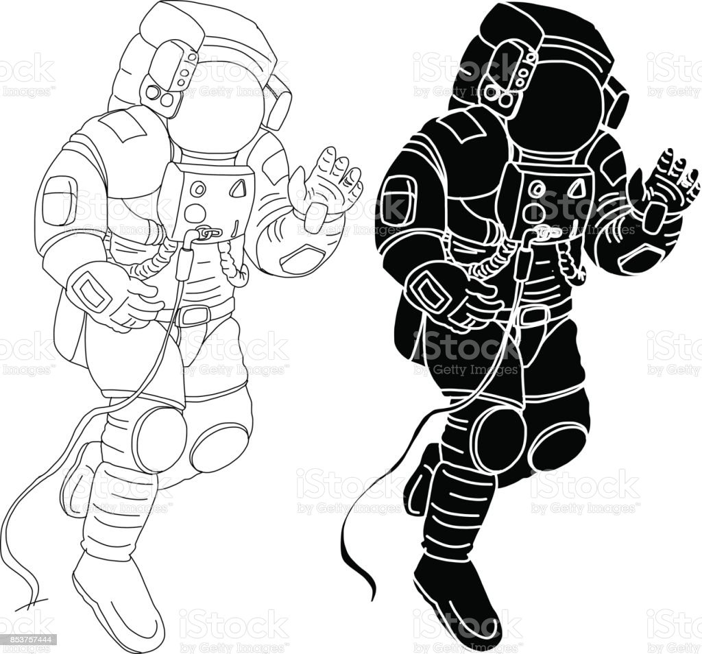Astronauts characters set Hand drawn style.spaceman on white background.Astronauts suit vector. vector art illustration