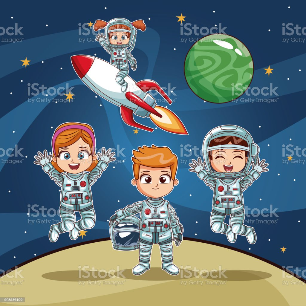 Astronauts Kids On Space Cartoon Stock Vector Art More Images Of