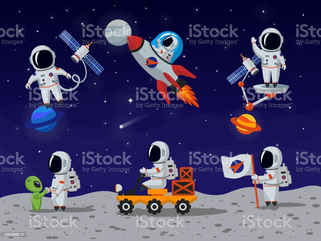 Astronauts vector characters set in flat cartoon style vector art illustration