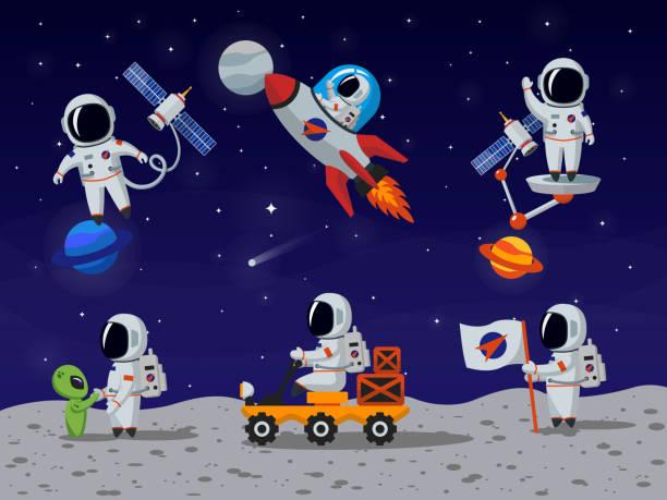 Astronauti vettoriale impostare di caratteri del Fumetto stile piatto - illustrazione arte vettoriale