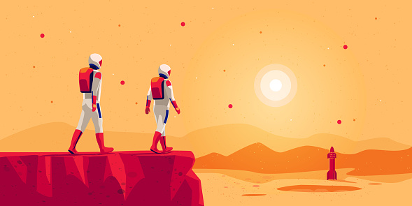 Astronauts walking on mars surface with space starship rocket