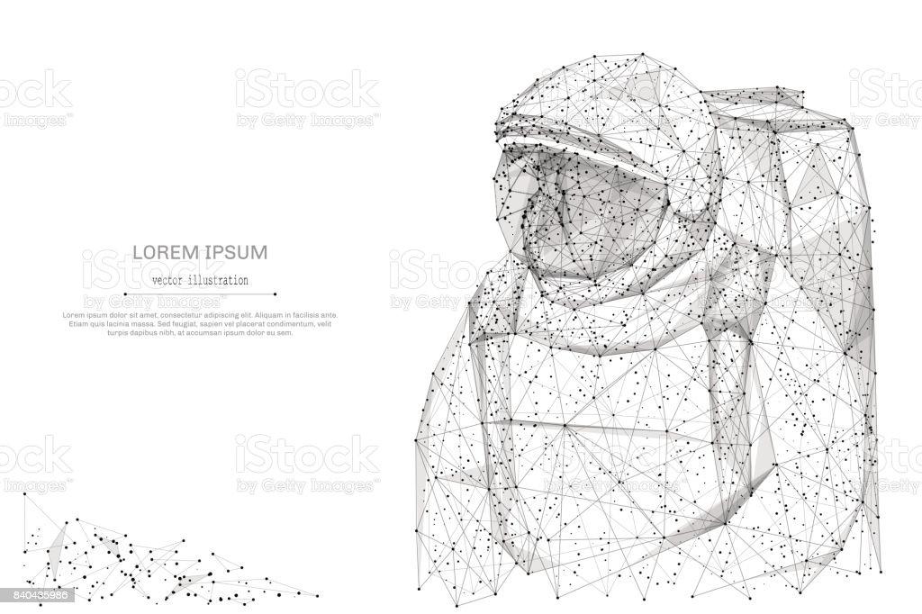 Astronavt low-Poly grau – Vektorgrafik