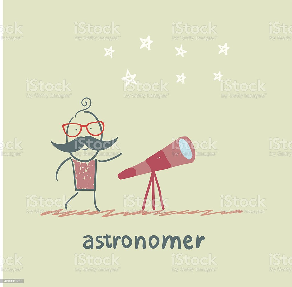 astronomer looking through a telescope royalty-free astronomer looking through a telescope stock vector art & more images of adult