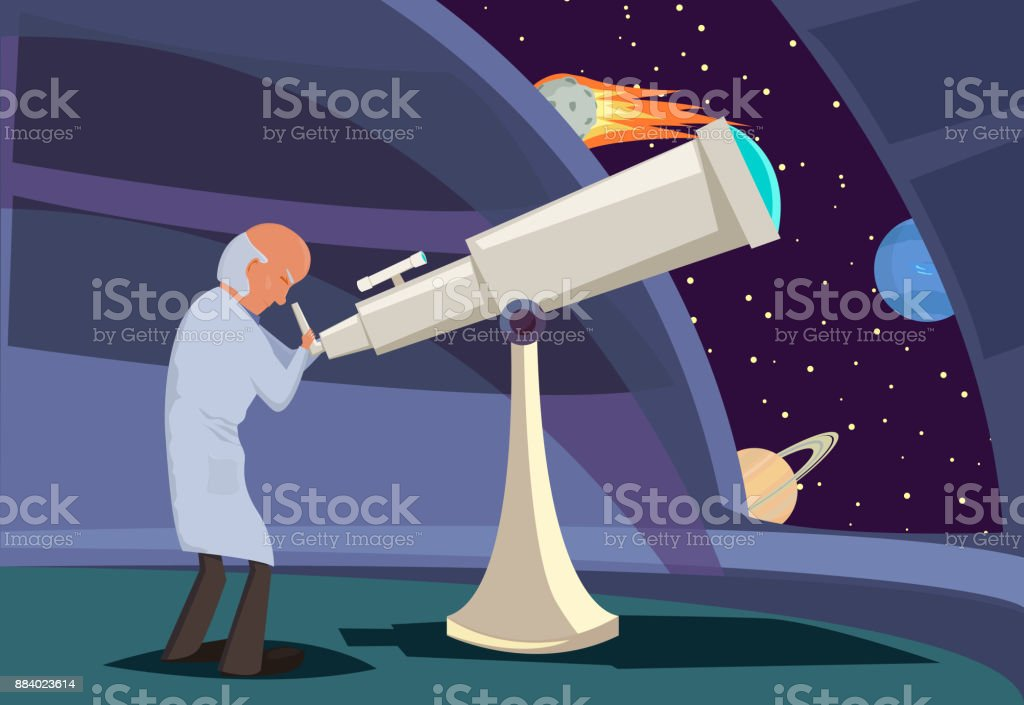 Astronome regardant à travers le télescope - Illustration vectorielle